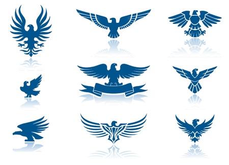 silhouette aquila: Retro Eagles insegne Set