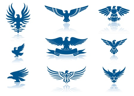 spread eagle: Retro Eagles insignias Set  Illustration