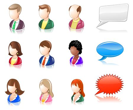 Various People Glossy IconSet Ilustracja