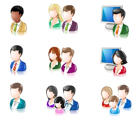 Diverse persone iconset Glossy