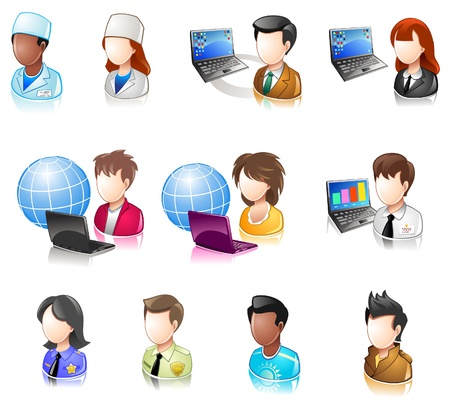 Diverse persone userpic iconset Glossy Vettoriali