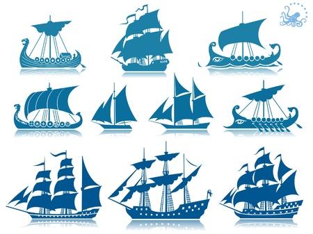 barco pirata: Los buques de la iconset pasado Vectores