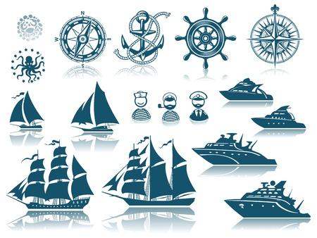 yacht isolated: Br�jula y Vela conjunto de iconos barcos