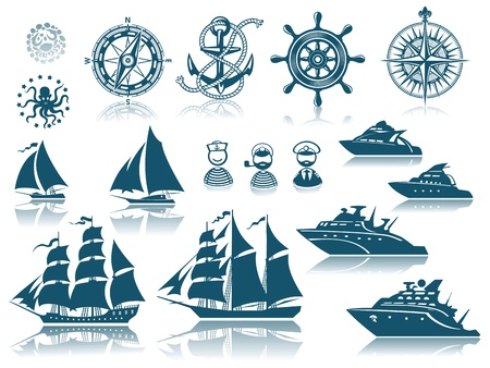 ancre marine: Compass et jeu d'icônes Voiliers Illustration
