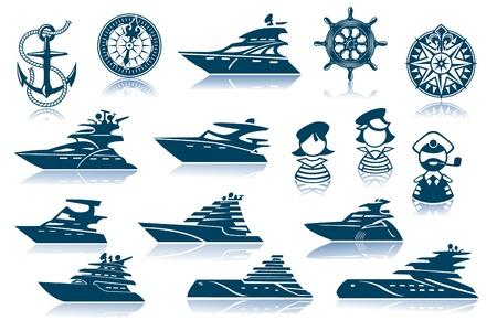 boat motor: Motor Luxury Yachts Silhouettes Set Illustration