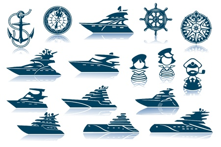 motor boats: Motor Luxury Yachts Silhouettes Set Illustration