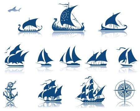 vikingo: Barcos de vela del pasado juego de iconos