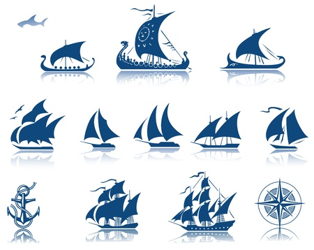 Sailing Ships of the past iconset  Vector