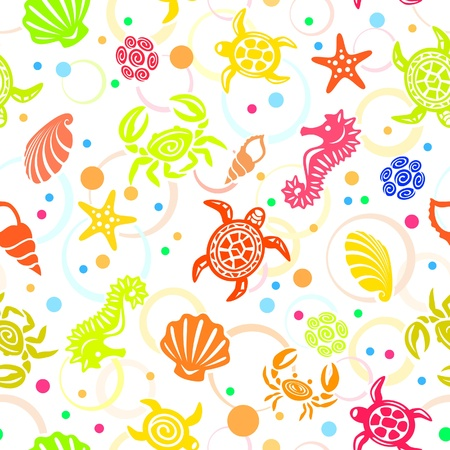 sea stars: Seamless Sea Life Pattern