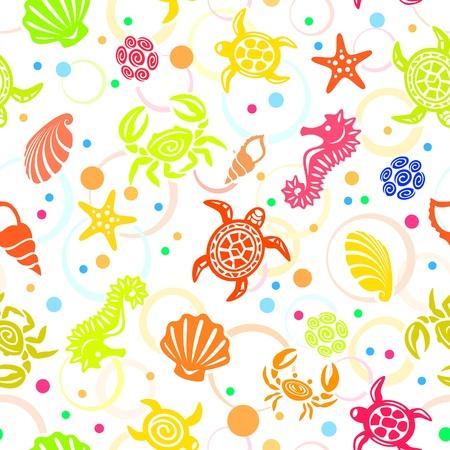sea star: Seamless Sea Life Pattern