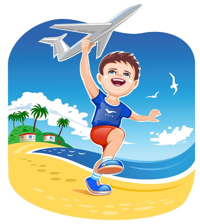 Boy Playing Jet Toy  Vector