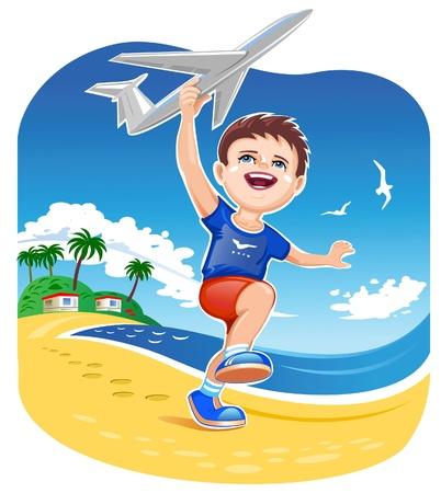 avion caricatura: Muchacho que juega Toy Jet Vectores