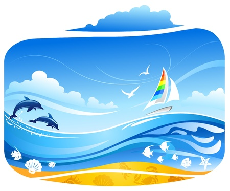 Voilier en mer tropicale avec les dauphins et les oiseaux