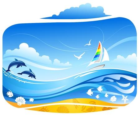Zeiljacht in tropische zee met dolfijnen en vogels