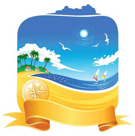 windsurf: Tropical Coastline  Illustration