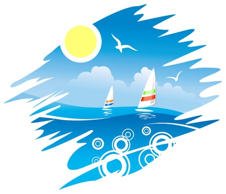 sea gull: Tropical Sea with Windsurf  Illustration
