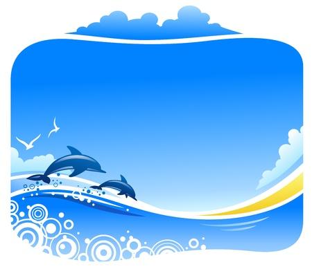 Tropikalna plaża z delfinami