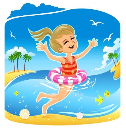 swimming bird: Girl Swimming in the Sea