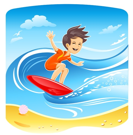wind surfing: Windsurfer Boy  Illustration