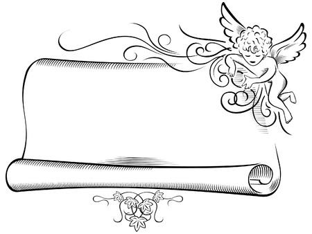 Retro Engel met Scroll