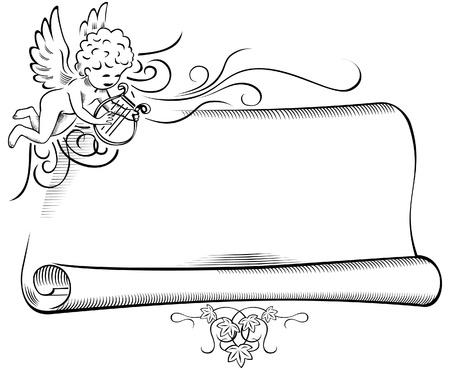 cherub: Retro Angel with Scroll