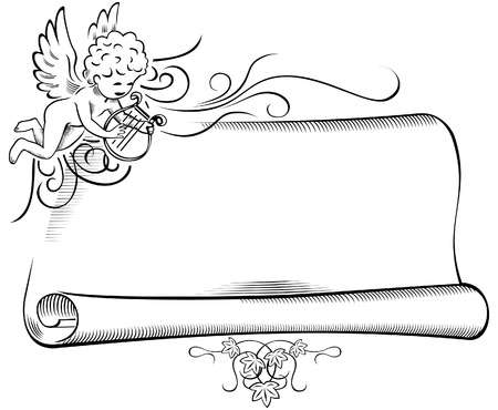 valentine cherub: Retro Angel with Scroll