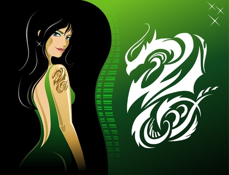Girl with dragon tattoo Vector
