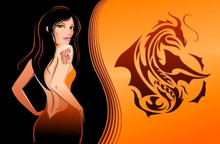 Girl with dragon tattoo Illustration