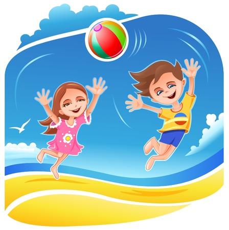 niÑos contentos: Niño y niña jugando con la pelota en la playa Vectores