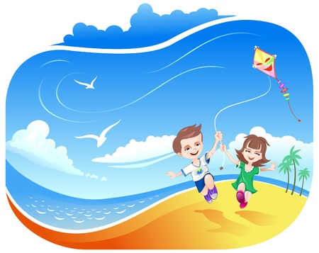 Boy and Girl running with kite on the beach
