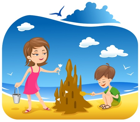 Boy and his mother at the Beach building sand castle  Ilustracja