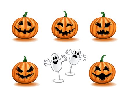 ghost face: Pumpkins Icon Set