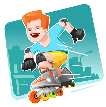Roller Skating Boy moving fast  Vector
