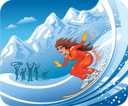 Smiling young women snowboarding  Vector