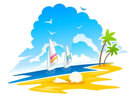 windsurf: Tropical Sea with Windsurf  Illustration