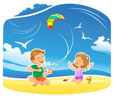 Niños jugando con una cometa en la playa Vectores