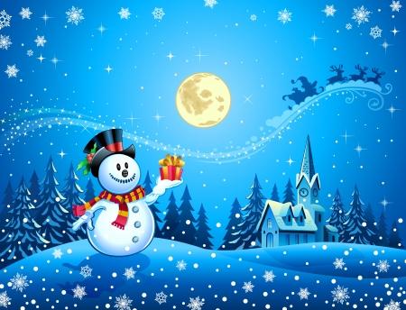 papa noel en trineo: Muñeco de nieve con el regalo 2