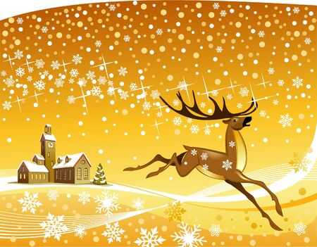 Deer rushing throught the snow Vector