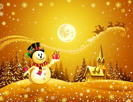 Snowman with the gift  Vector
