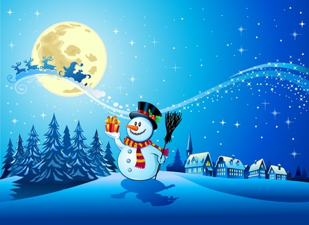 Snowman with the gift 3 Vector