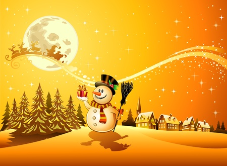Snowman with the gift 4 Vector