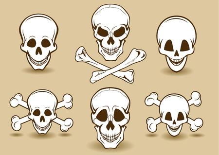 pirate skull: Calavera sonriente con huesos cruzados establecidos Vectores
