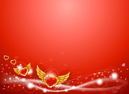 red winged: Winged flying golden hearts