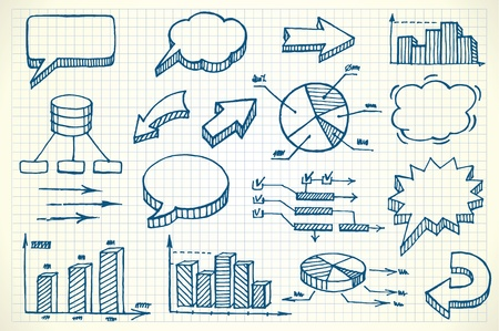 business planning: Hand-drawn finance illustration set