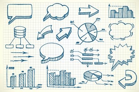 financial graph: Hand-drawn finance illustration set