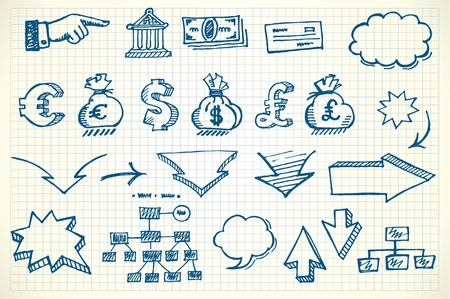 Hand-drawn currency illustration set Vector