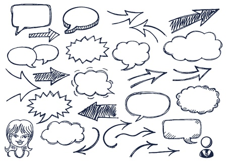 Hand drawn arrows and speech bubbles illustration set Ilustracja