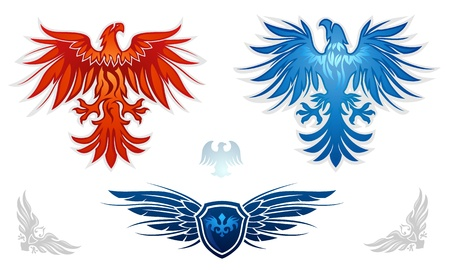 Heraldic eagles vector set Illustration