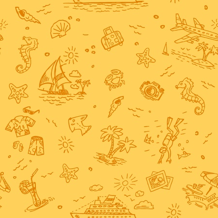 Hand drawn beach vacation seamless background Vector