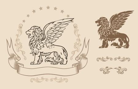 leon con alas: León Alado Insignia Vectores